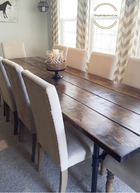 A DIY Industrial Farmhouse Pipe Leg Table Table And