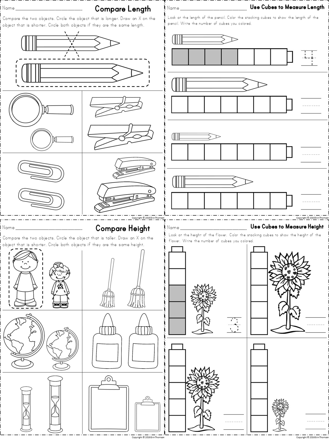 Worksheets For Measuring Length And Height Part Of A Kindergarten Math Unit On Measurement