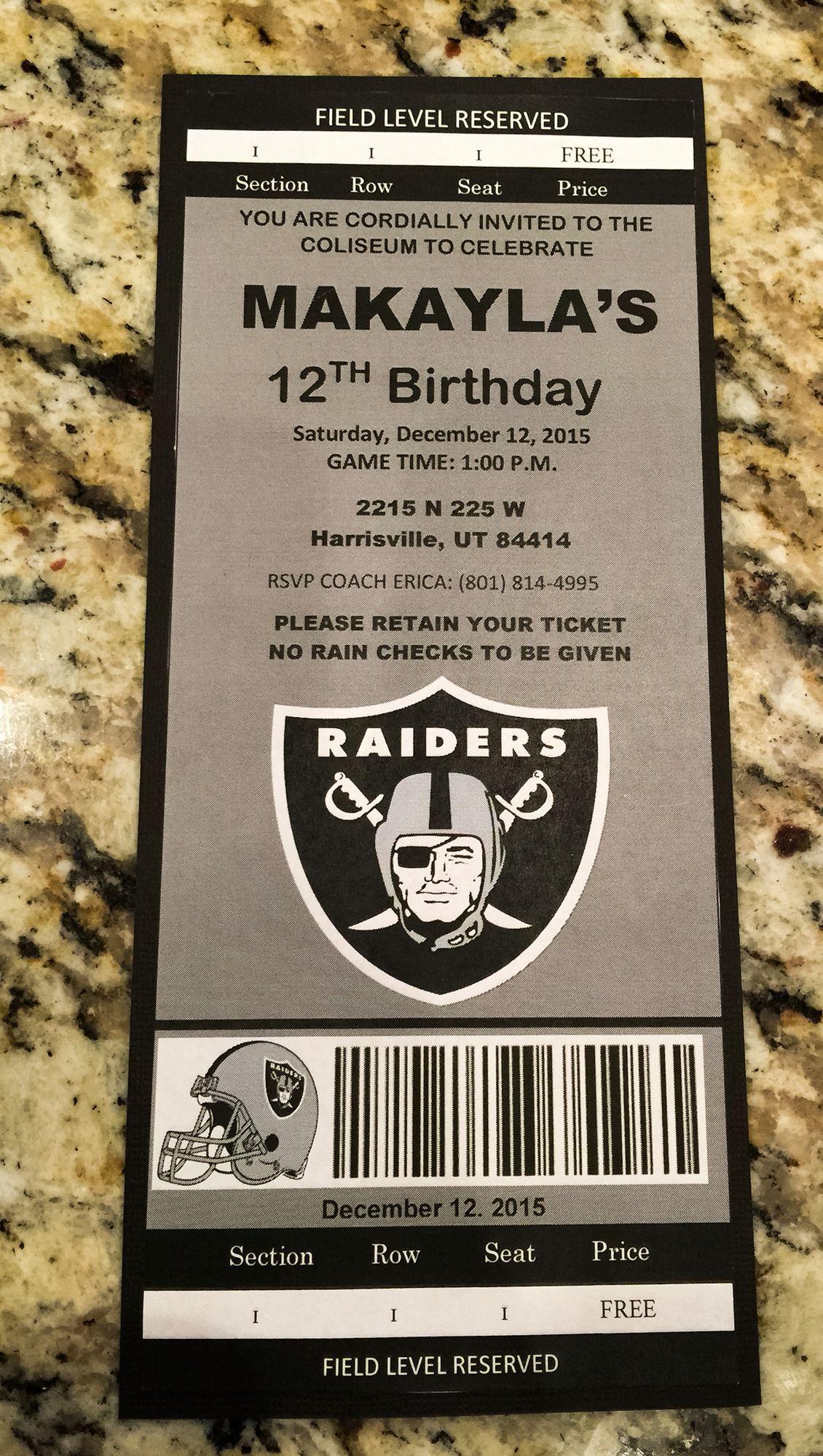 Raiders Birthday Party Invitation