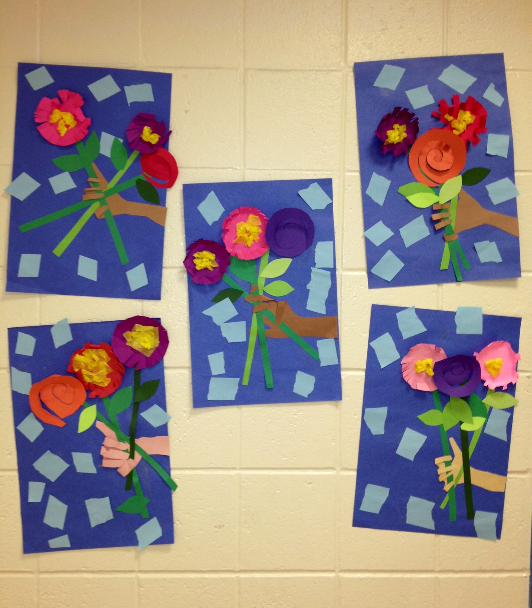Cut And Paste Pop Up Picasso Flowers 1st Grade Art