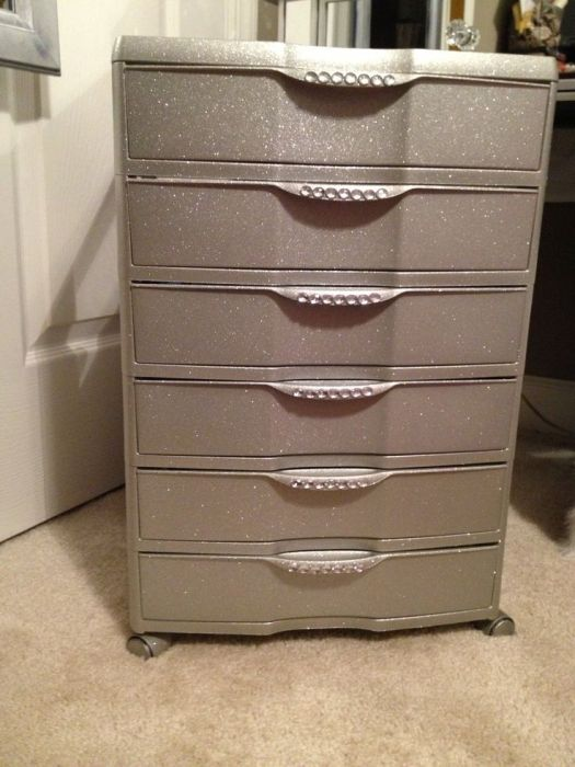 Paint Plastic Drawers To Look Nicer 6 Drawer Bin From Spray Glitter And Crystal Stickers Great For Makeup Storage