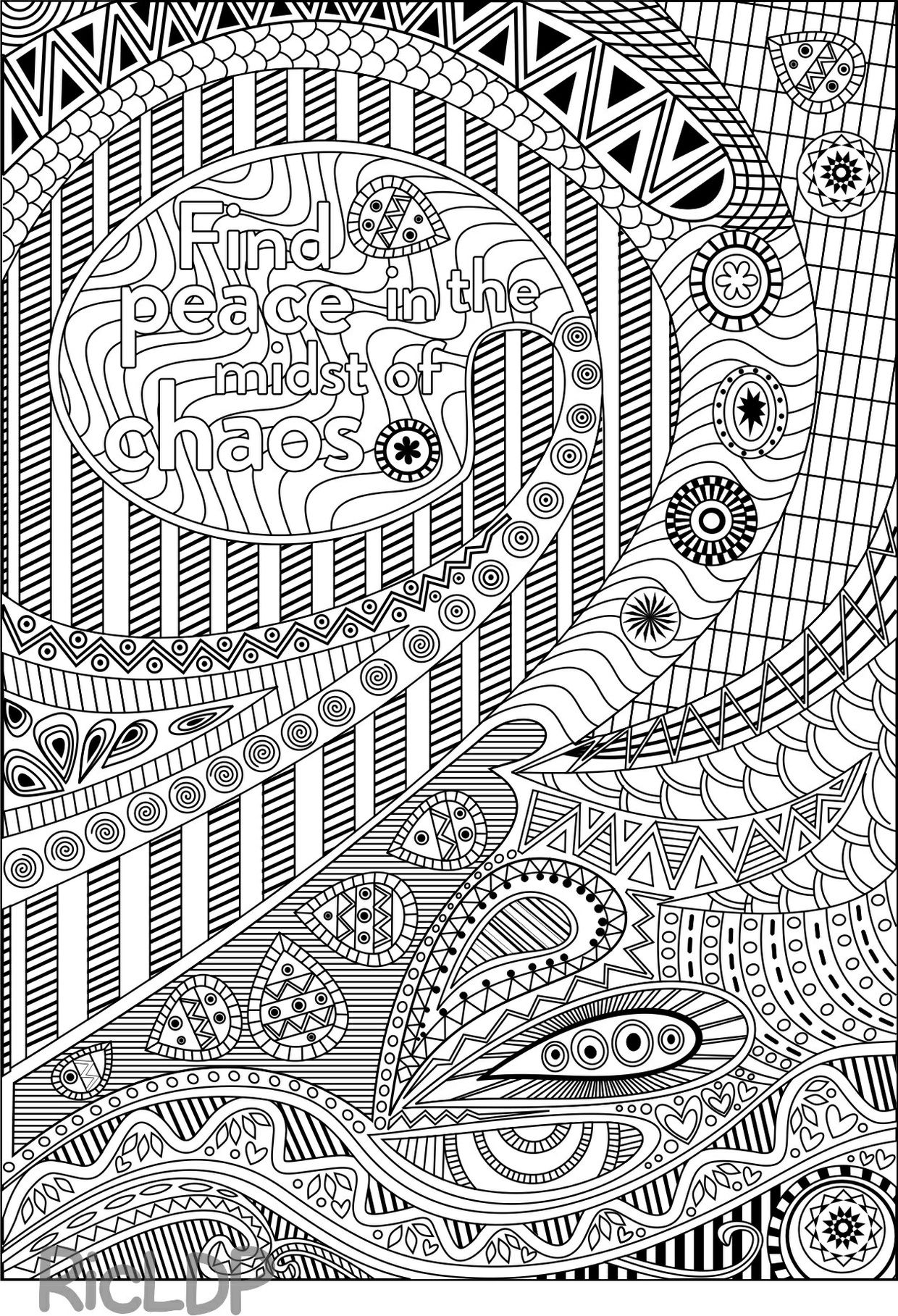 Find Peace In The Midst Of Chaos Coloring Page For Adults Adult