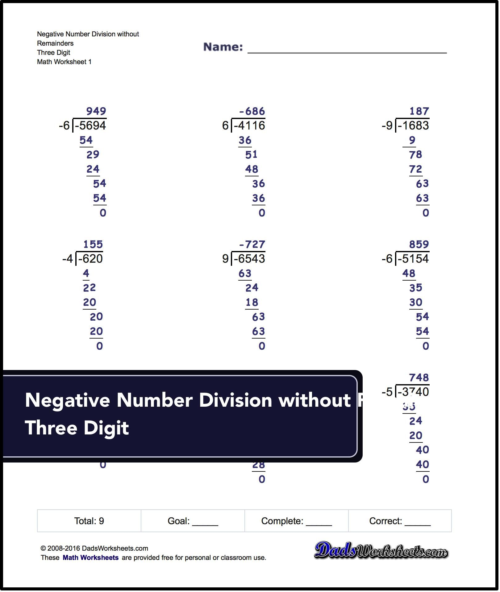 Free Math Worksheets For Negative Numbers