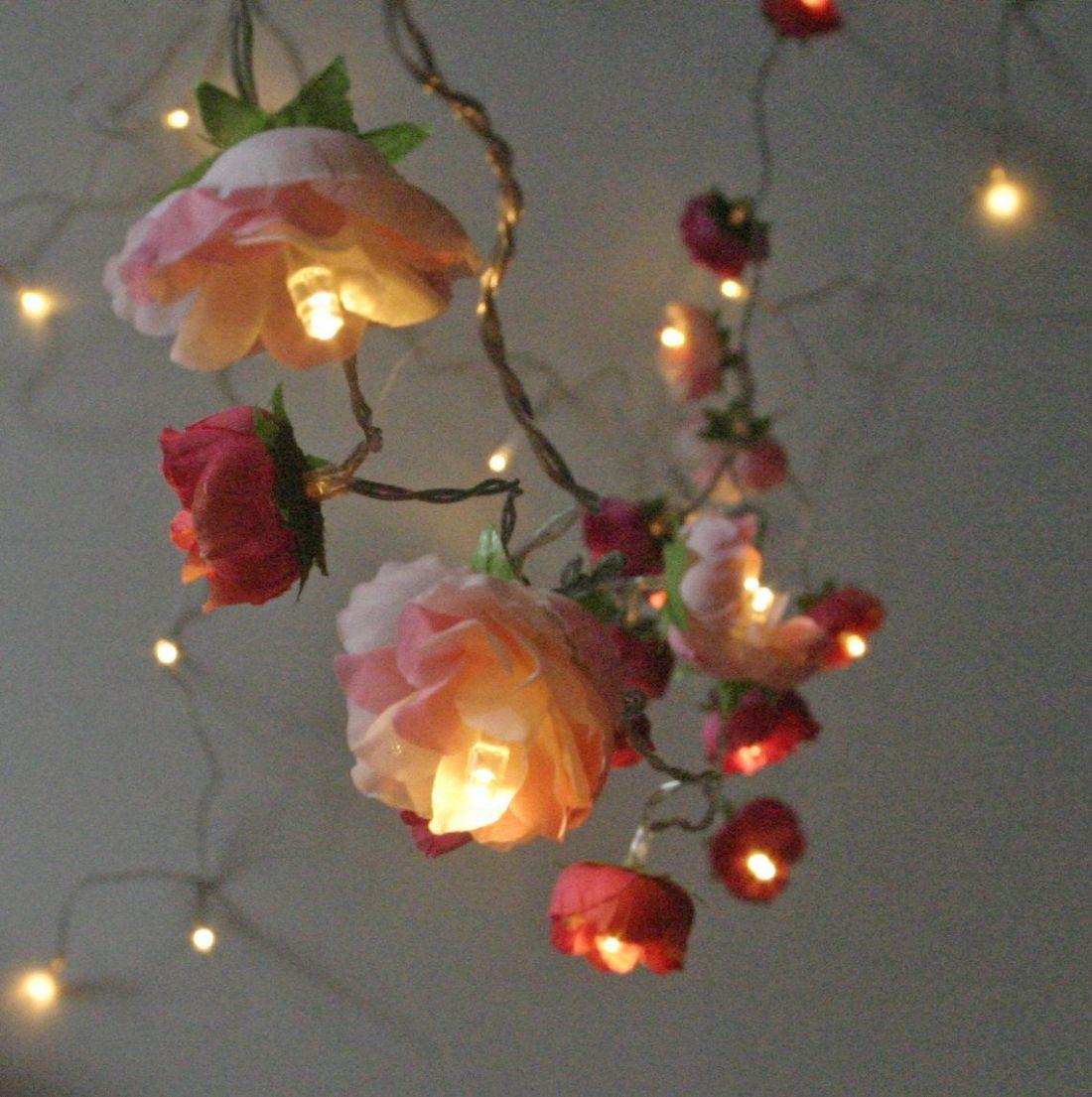 Bohemian garden mixed rose fairy lights pretty flower
