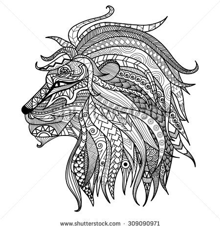 Hand Drawn Lion Coloring Page Stock Vector Zentangle