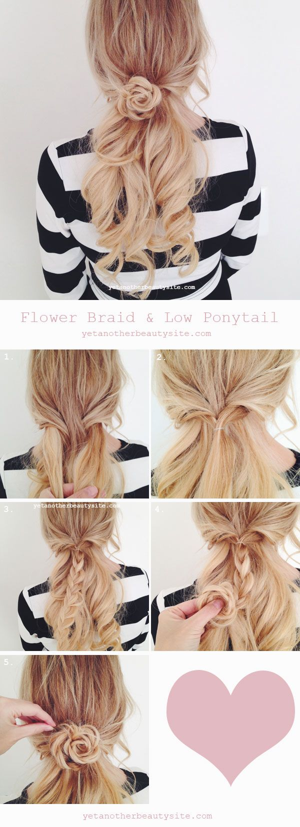 Low ponytail u Flower braid Peinados Pinterest Hair lengths