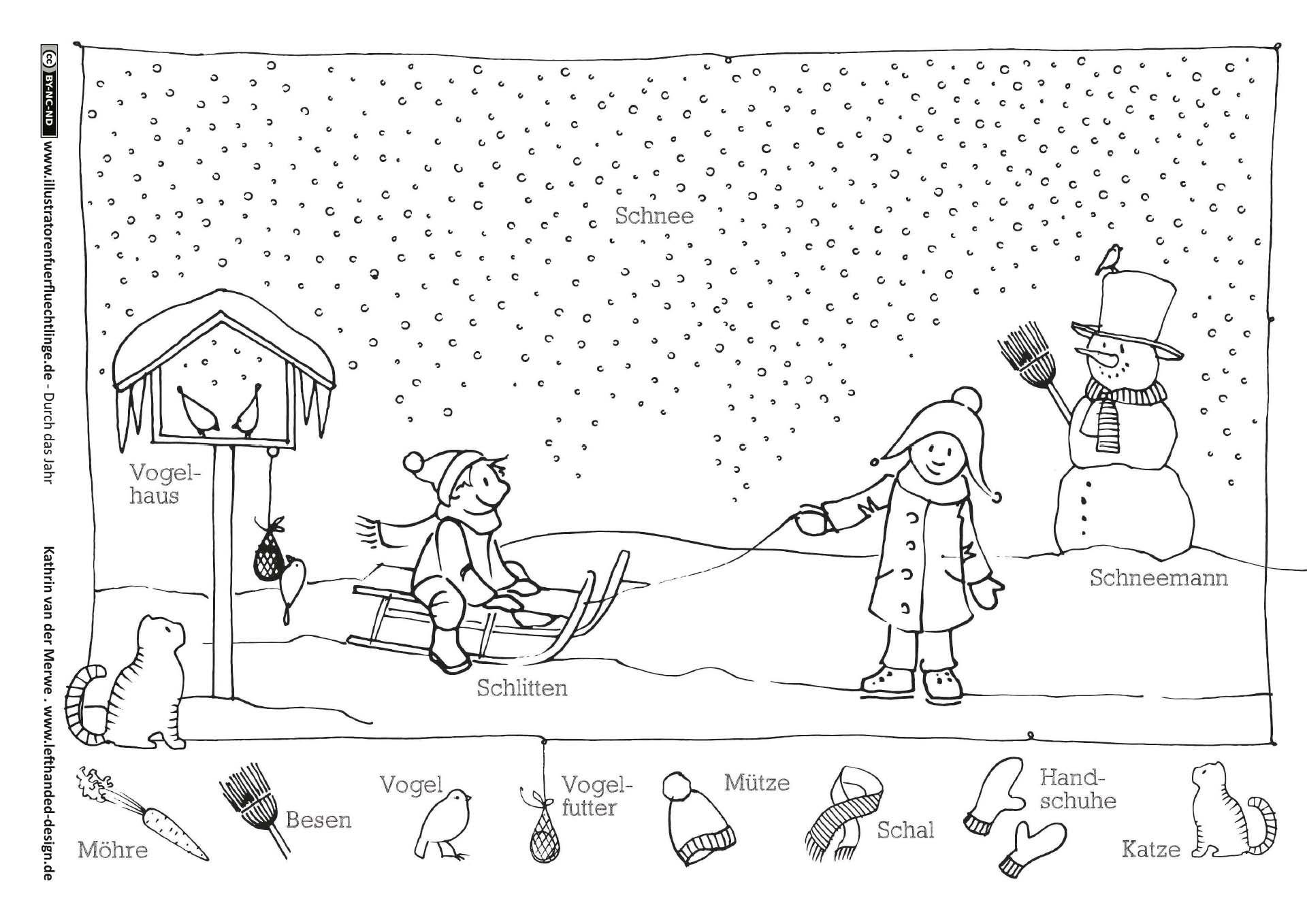 Download Als Durch Das Jahr Winter Schlitten Schneemann Van Der Merwe