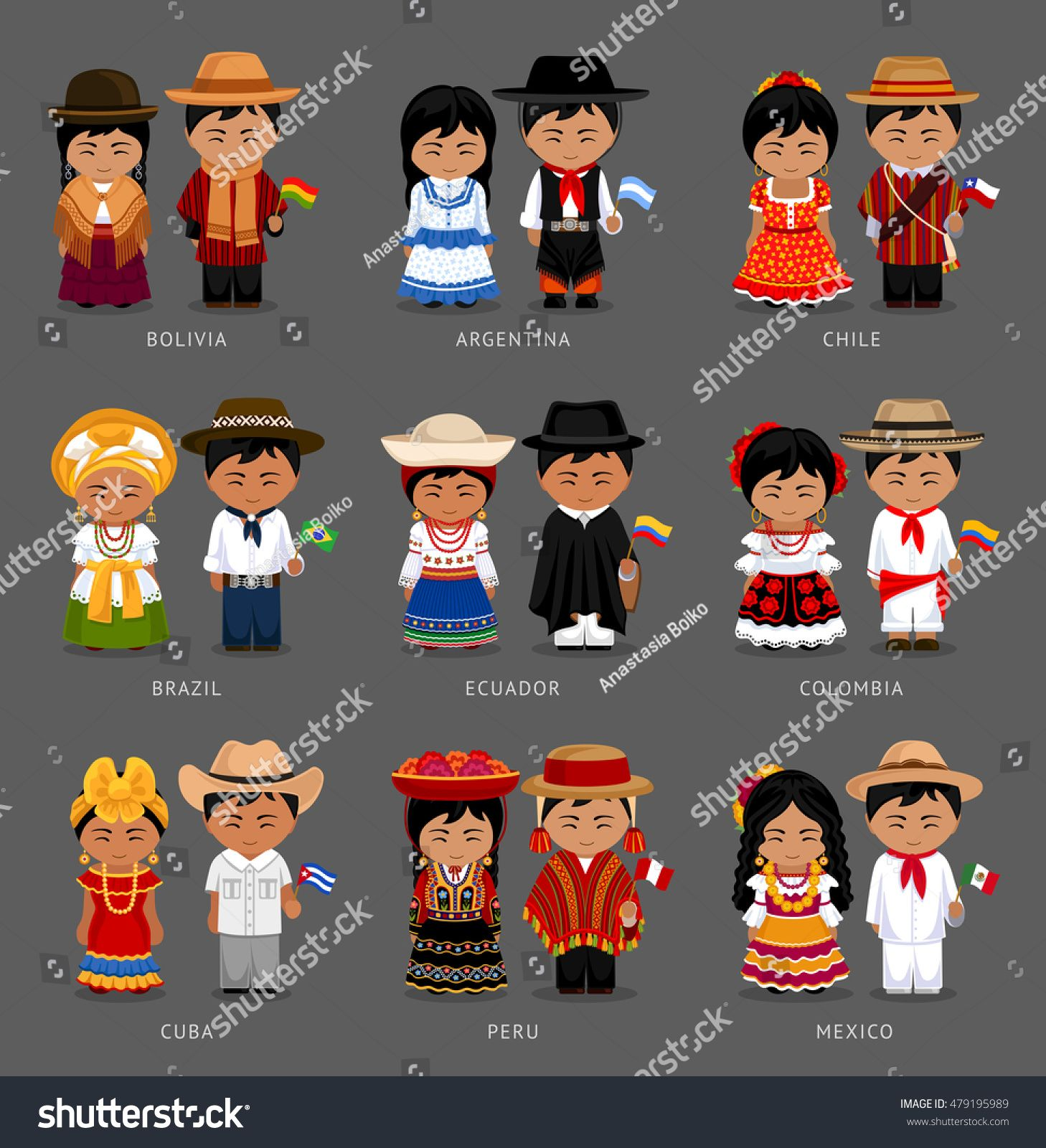 People In National Dress Bolivia Argentina Chile