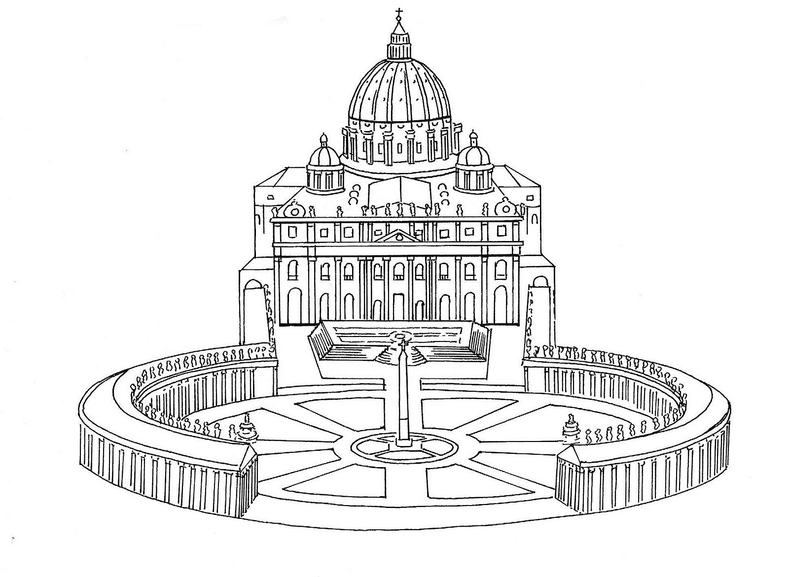 St Peter S The Vatican In Rome Catholic Coloring Page