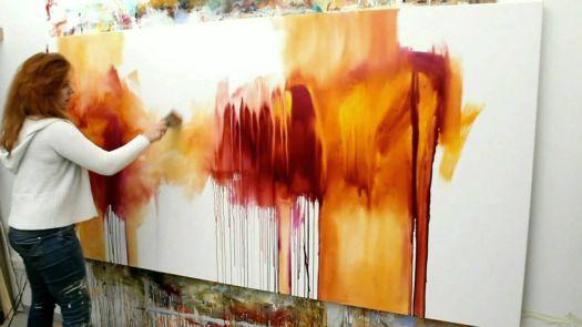 Abstract Acrylic Painting Demo Abstrakte Malerei Flüsterzeit By Zach