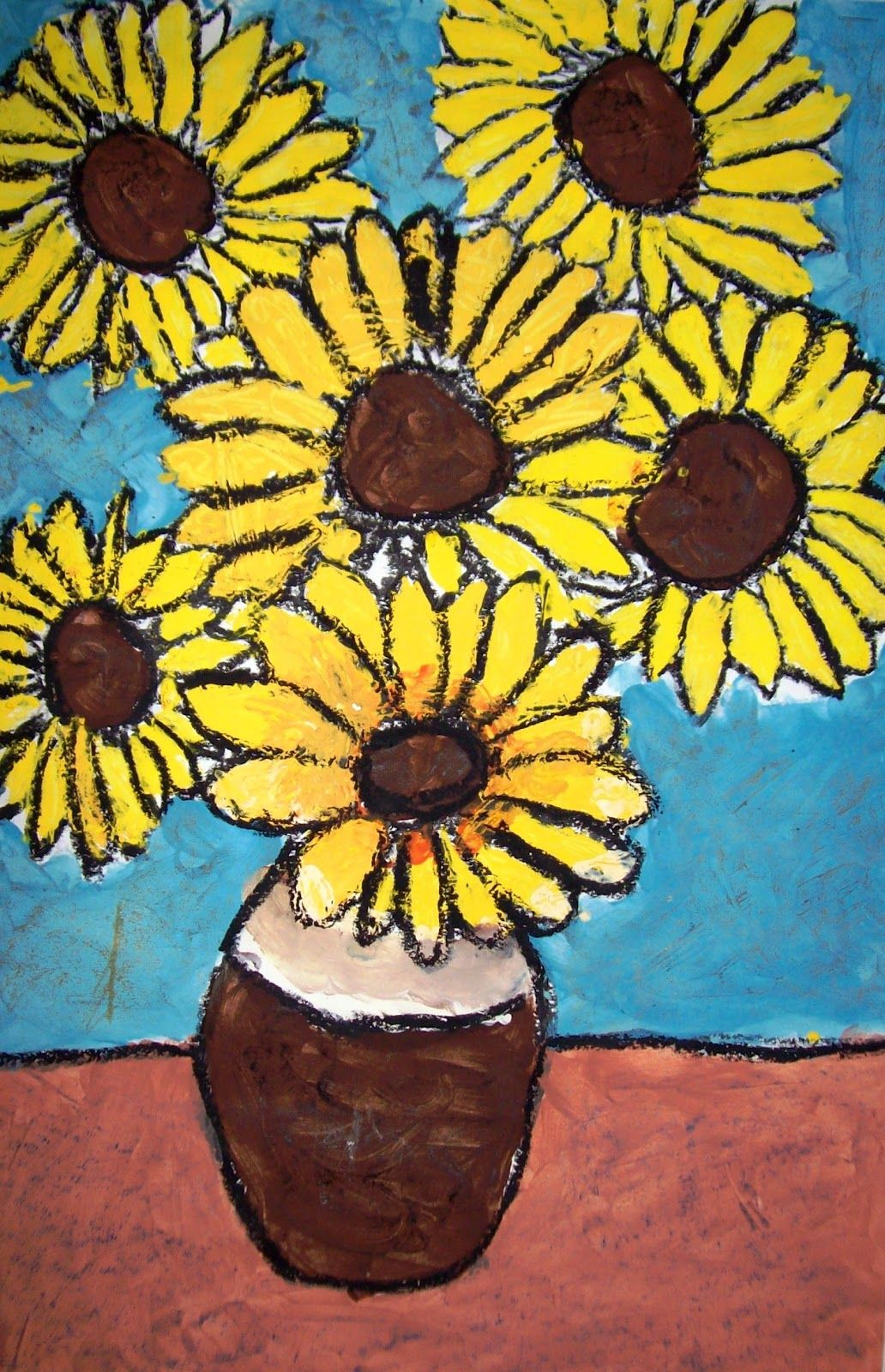 Textured Sunflowers She Had The Students Draw Outlines With Black Crayon Then Paint Using