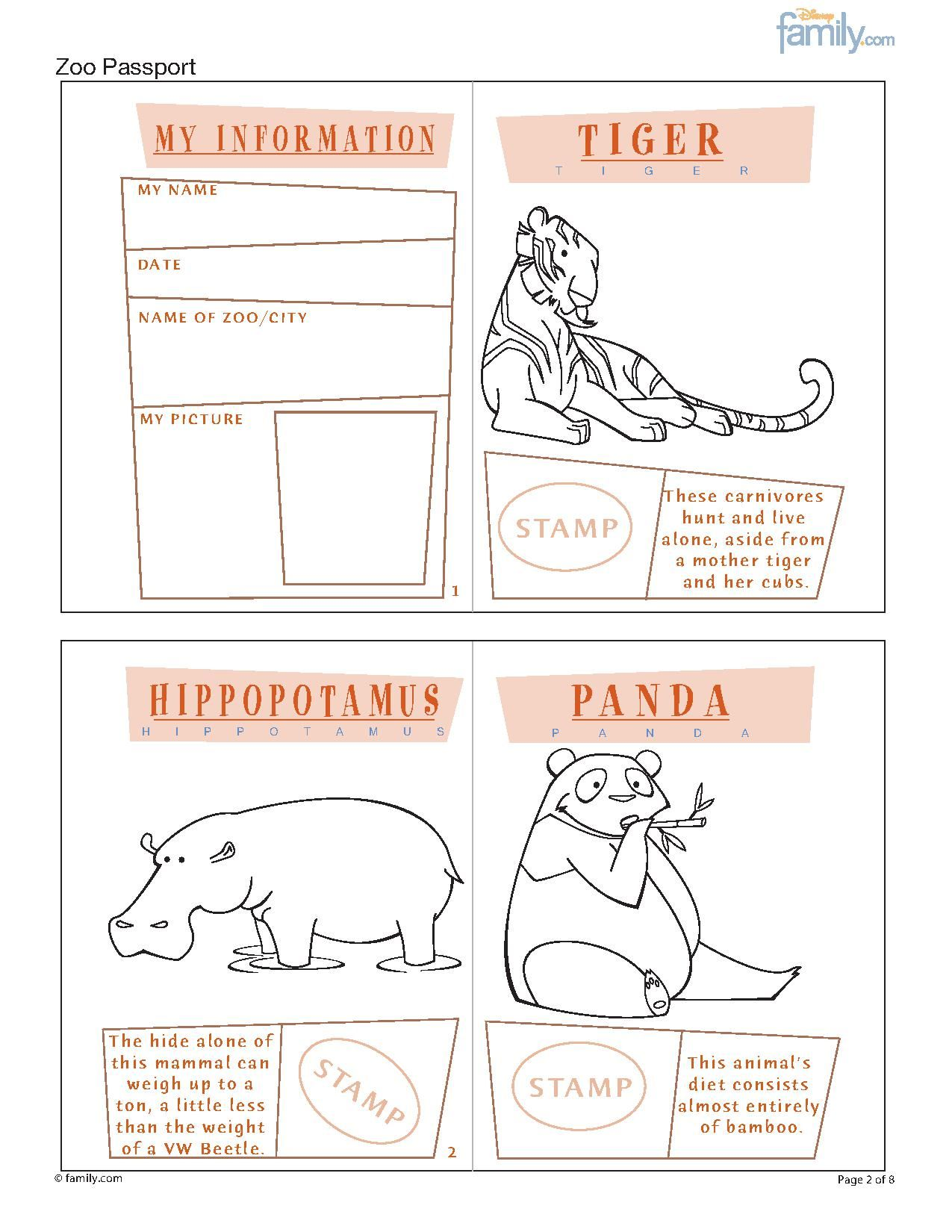 Zoo Printable Passport For Kids Page 1
