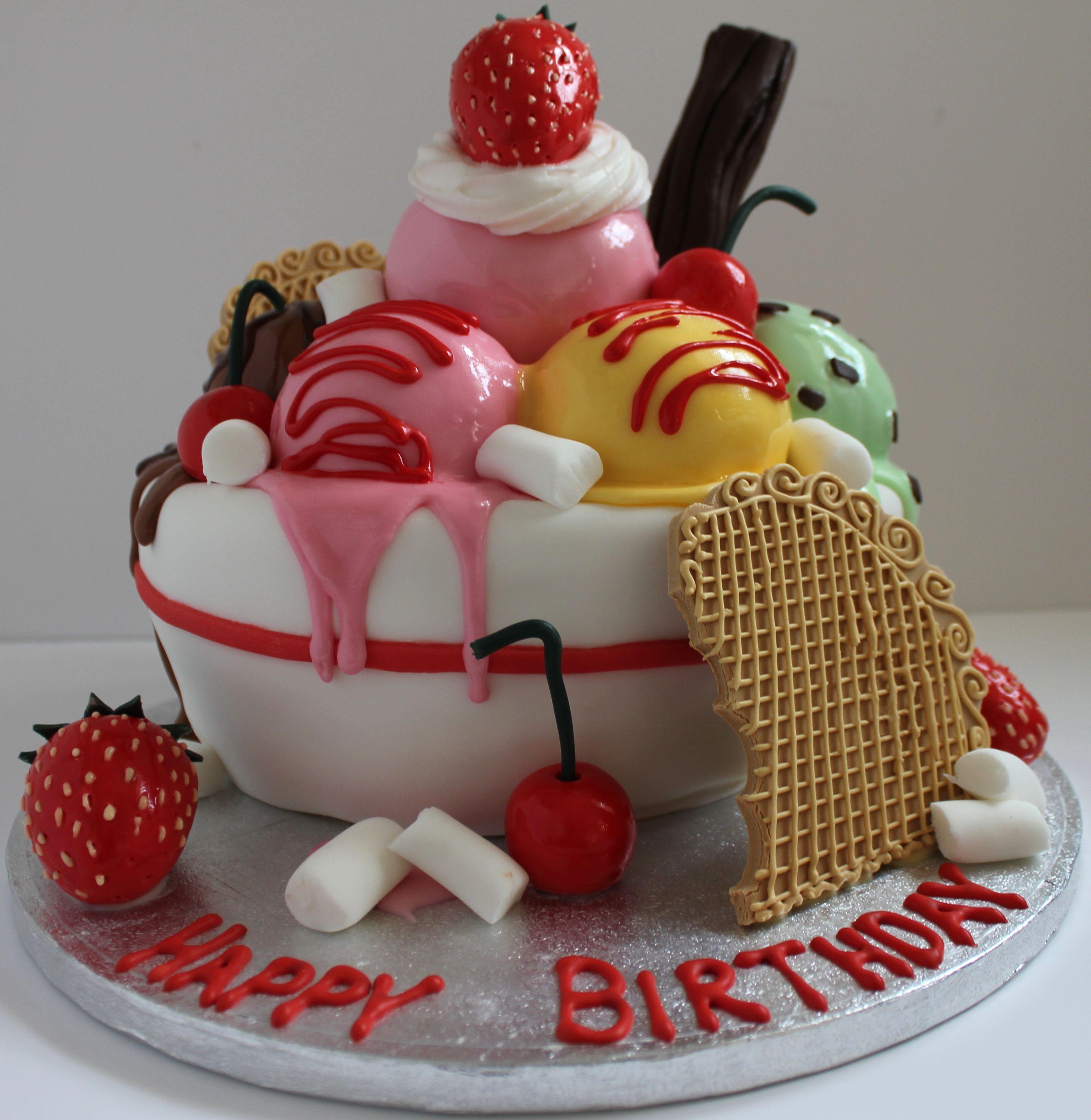 An Icecream Sundae Birthday Cake Follow Me On Facebook