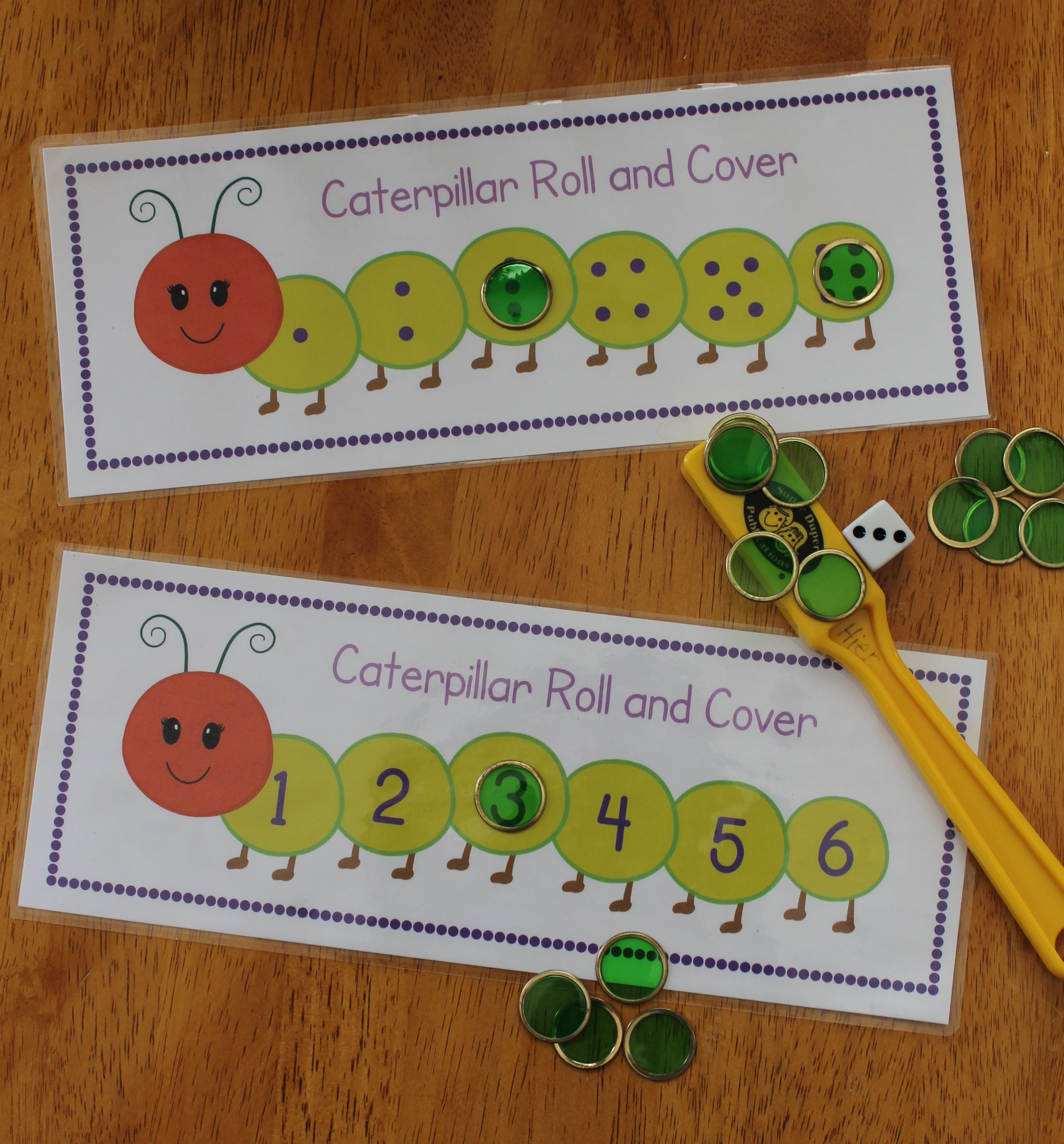 Caterpillar Roll And Cover Differentiated Math Activity For Preschool
