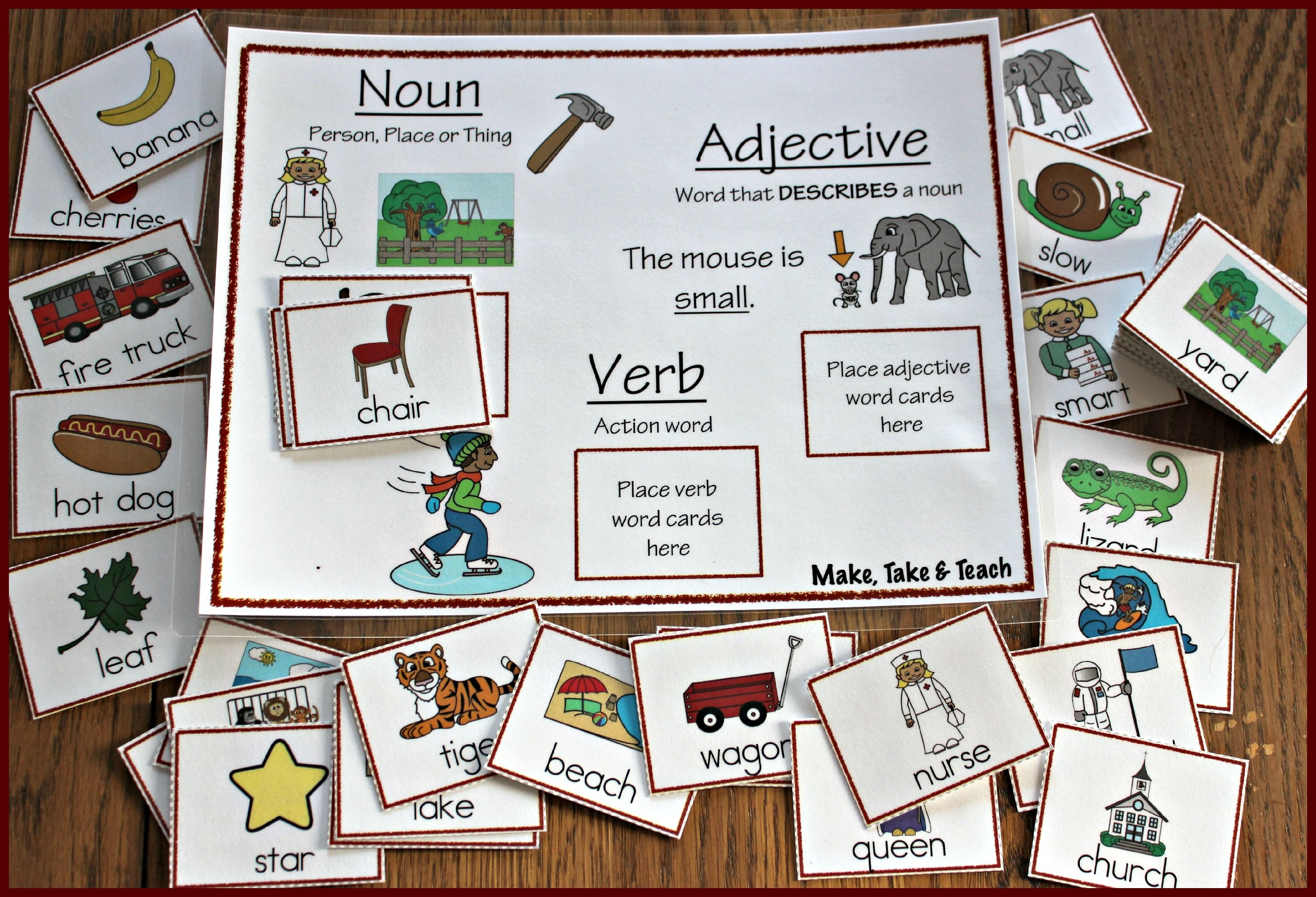 Nouns Verbs And Adjectives Great Activity For Either Small Group Instruction Or Literacy