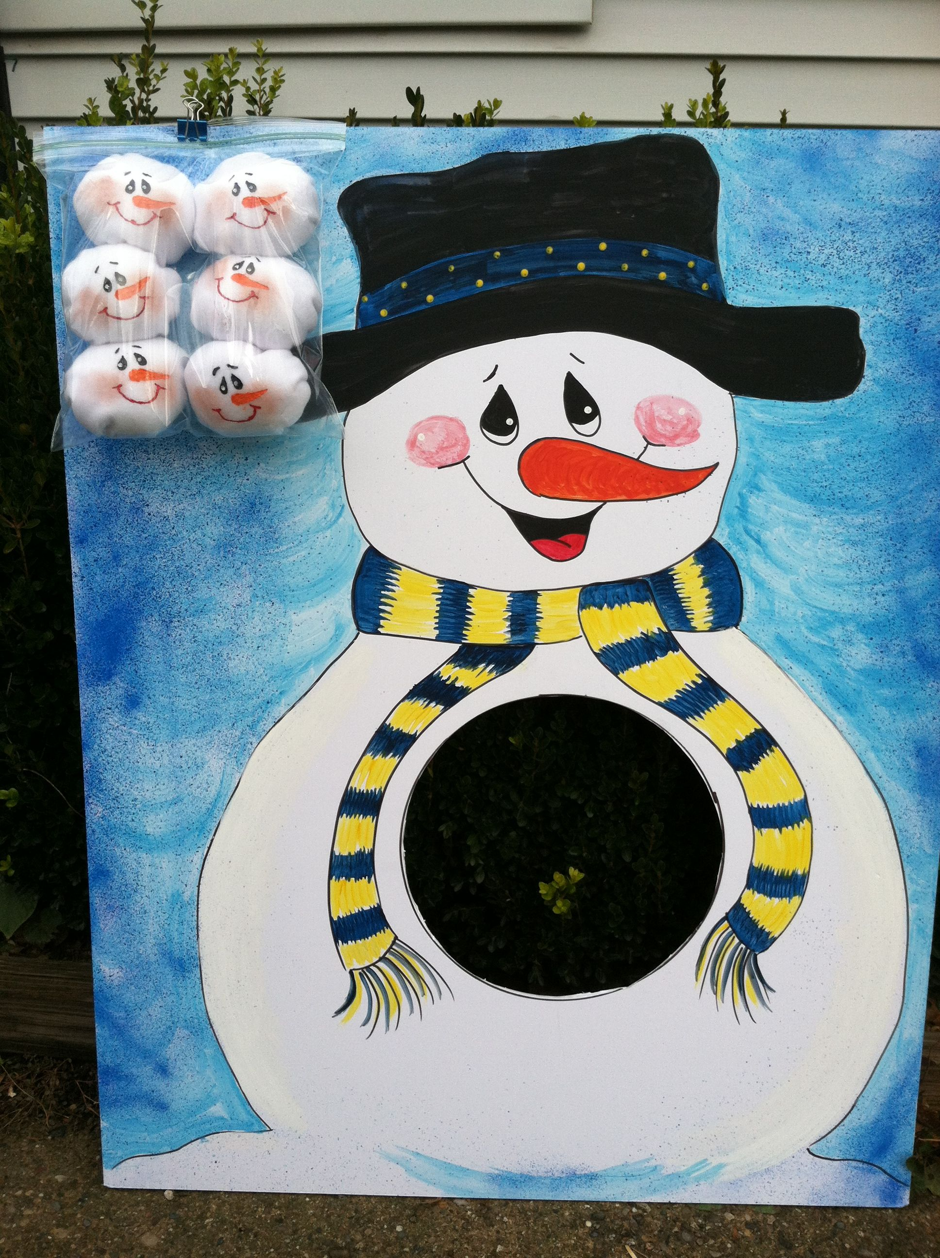 Snowball Toss Game Snowman Made From Foam Core Board