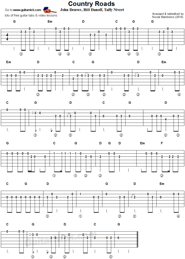 TAKE ME HOME COUNTRY ROADS easy guitar tablature D I