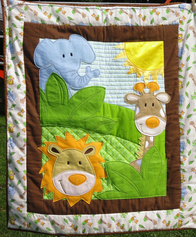 Jungle Animals Appliqued Baby Quilt Gorgeous Lion Giraffe And Blue Elephant 86 00 Via Etsy