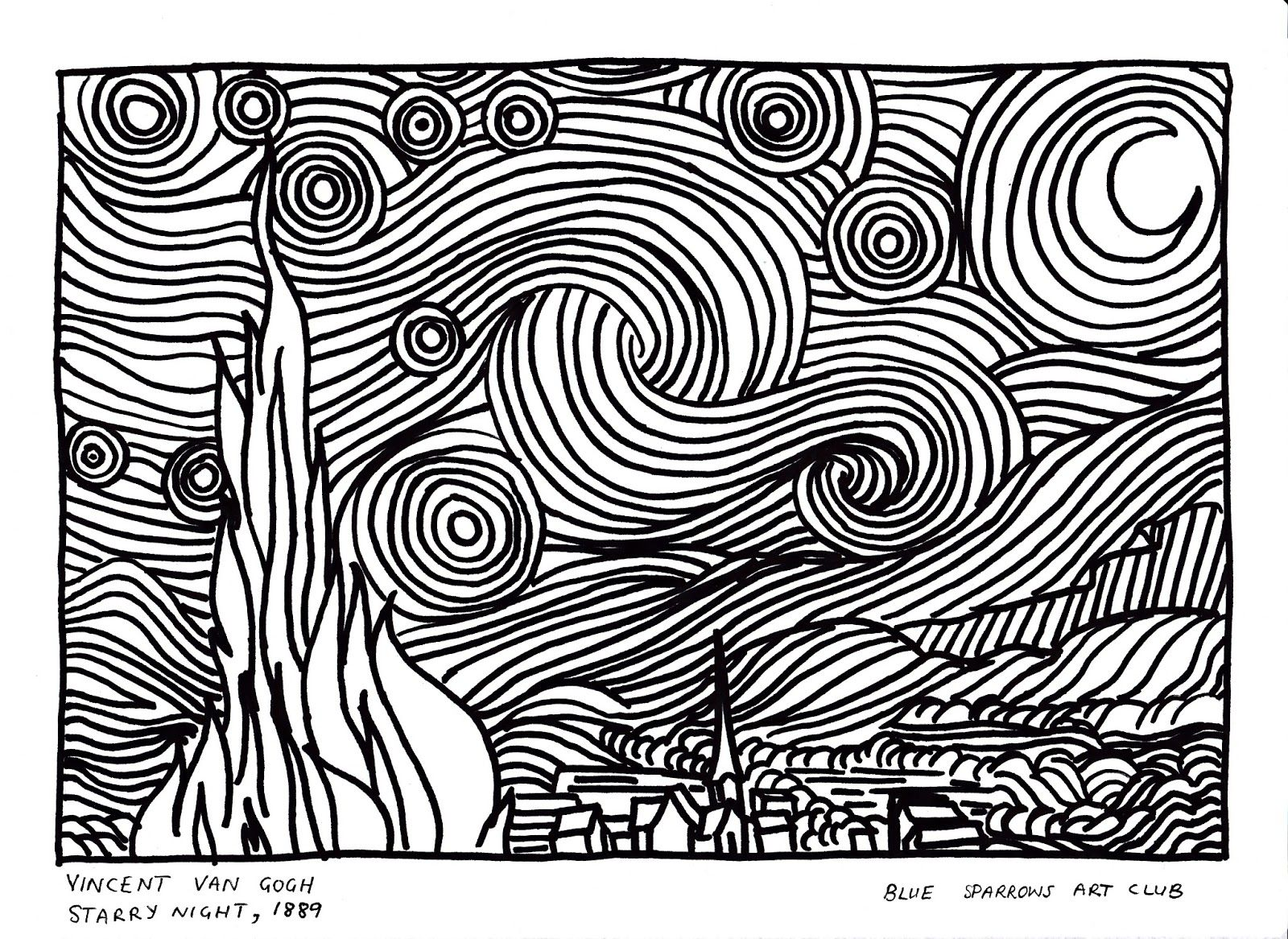 Van Gogh Starry Night Coloring Page Vincent Van Gogh