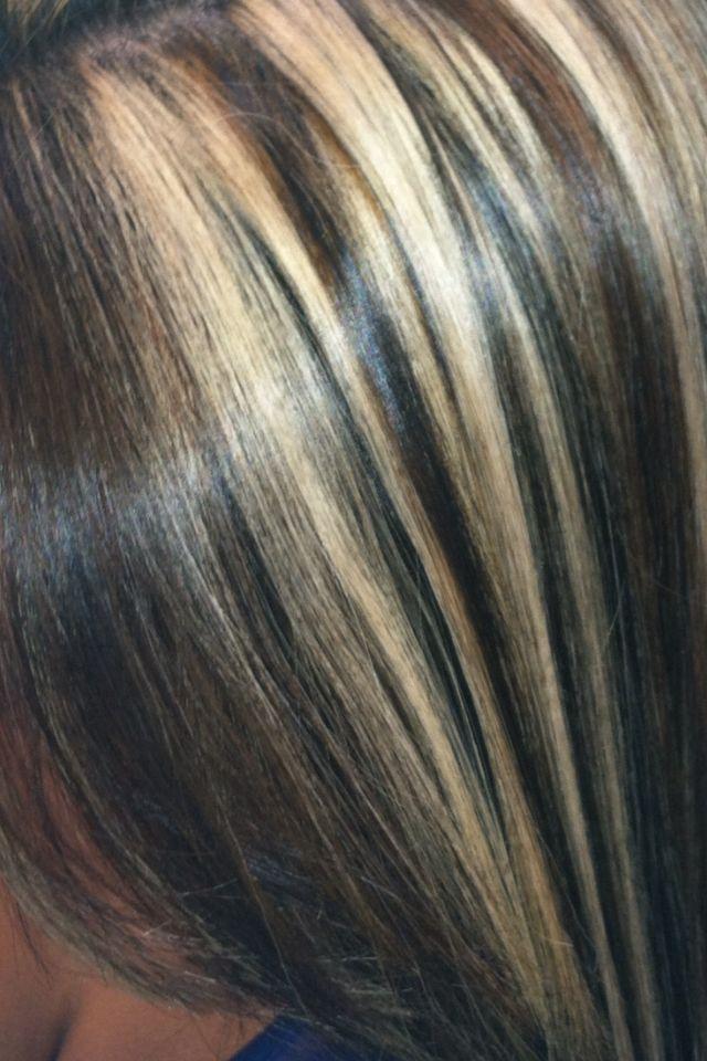 Blonde And Caramel Highlights Dark Brown Base Hair By Me