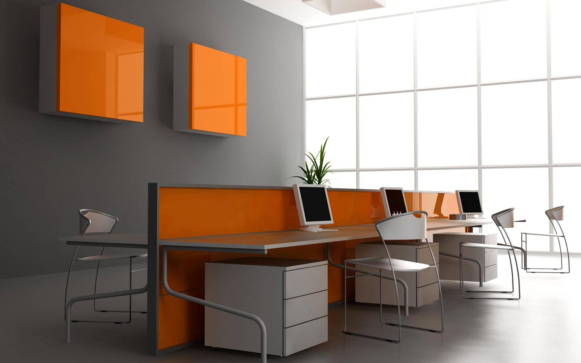 stylish grey wall color for modern office interior what on office wall colors id=19578