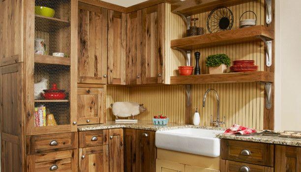 backsplash for medium hickory cabinets rustic hickory kitchen cabinets kitchen farmhouse with on farmhouse kitchen hickory cabinets id=44212