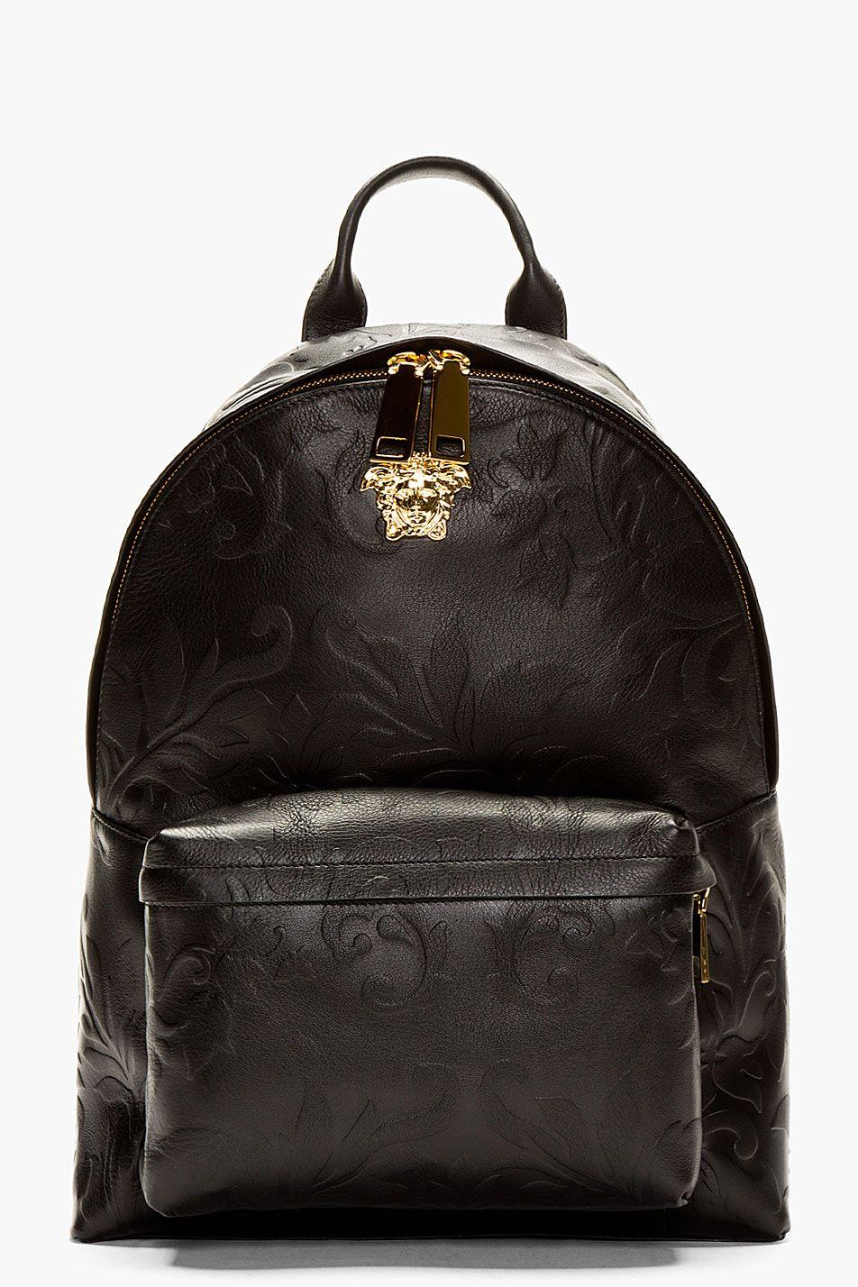 Versace black embossed grain leather emblem backpack