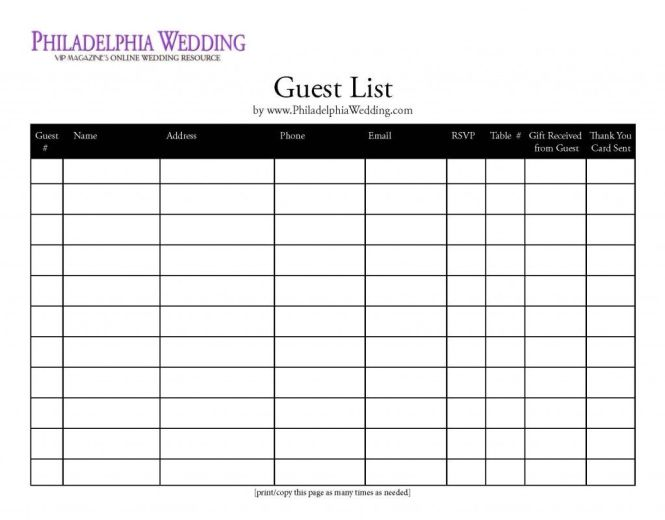 Wedding Invite List Template Free