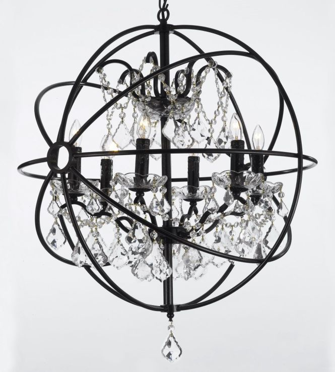 Find This Pin And More On Our New House By Danijonesny Gallery Foucault S Orb Crystal Iron 6 Light Chandelier