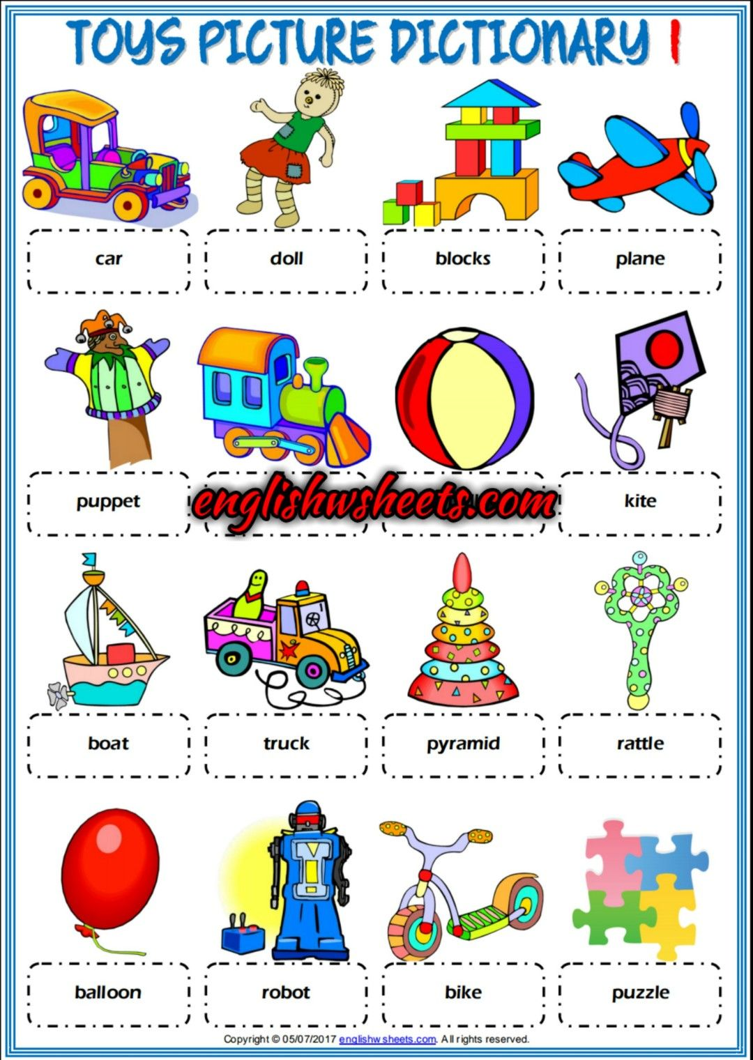 Toys Esl Printable Picture Dictionaries For Kids Toys