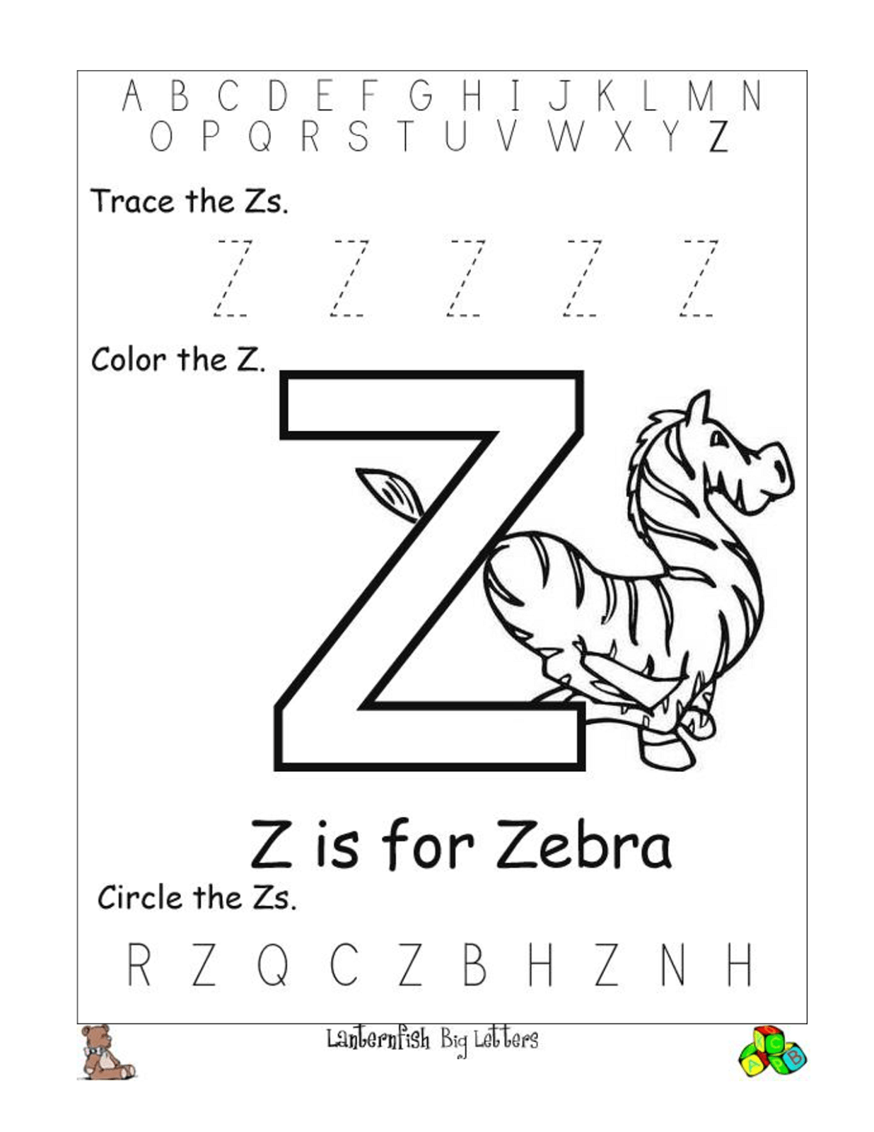 Letter Z Worksheets To Print