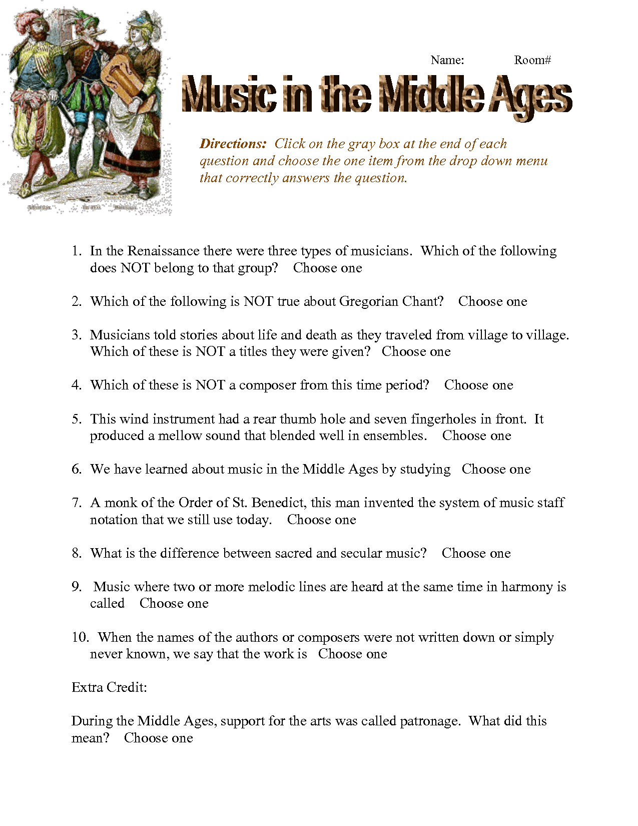 Rome Middle Ages Worksheet