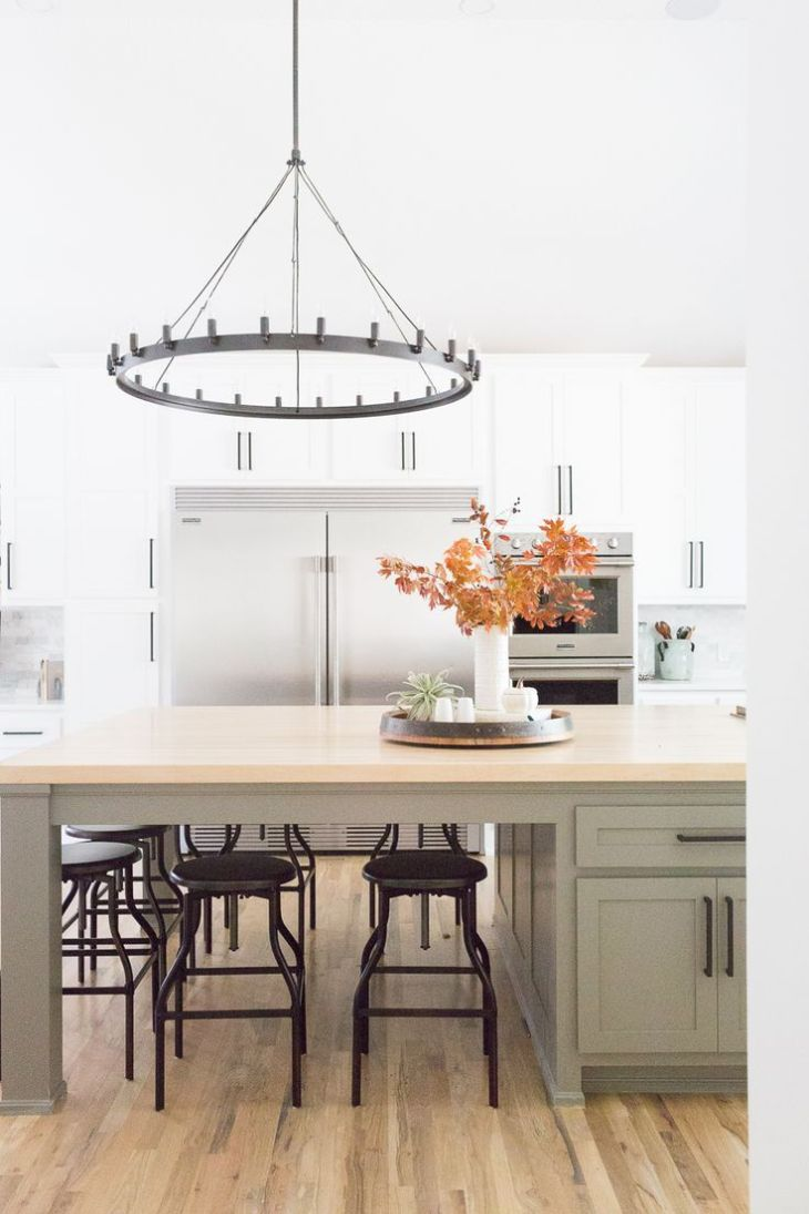 CC and Mike Tulsa Remodel Reveal Grey kitchen island Large