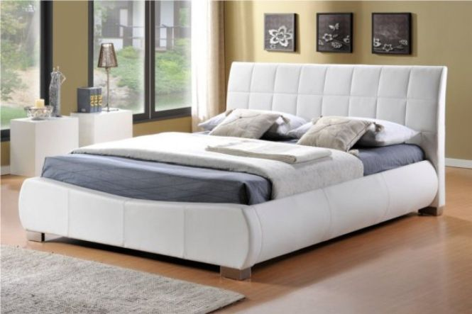 Pulsar White Faux Leather Bed Frame Stylish Beds Frames And