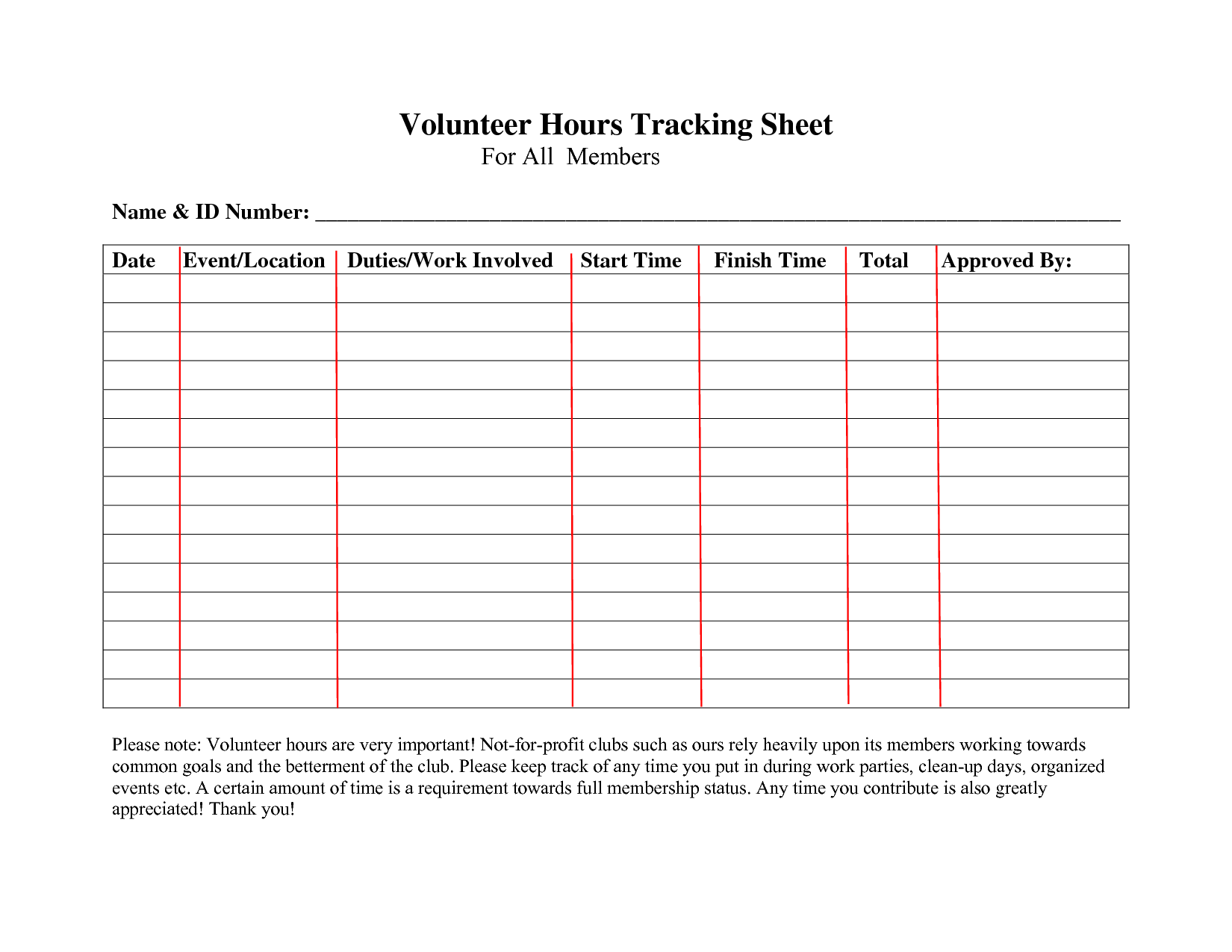 Volunteer Hours Log Sheet Template
