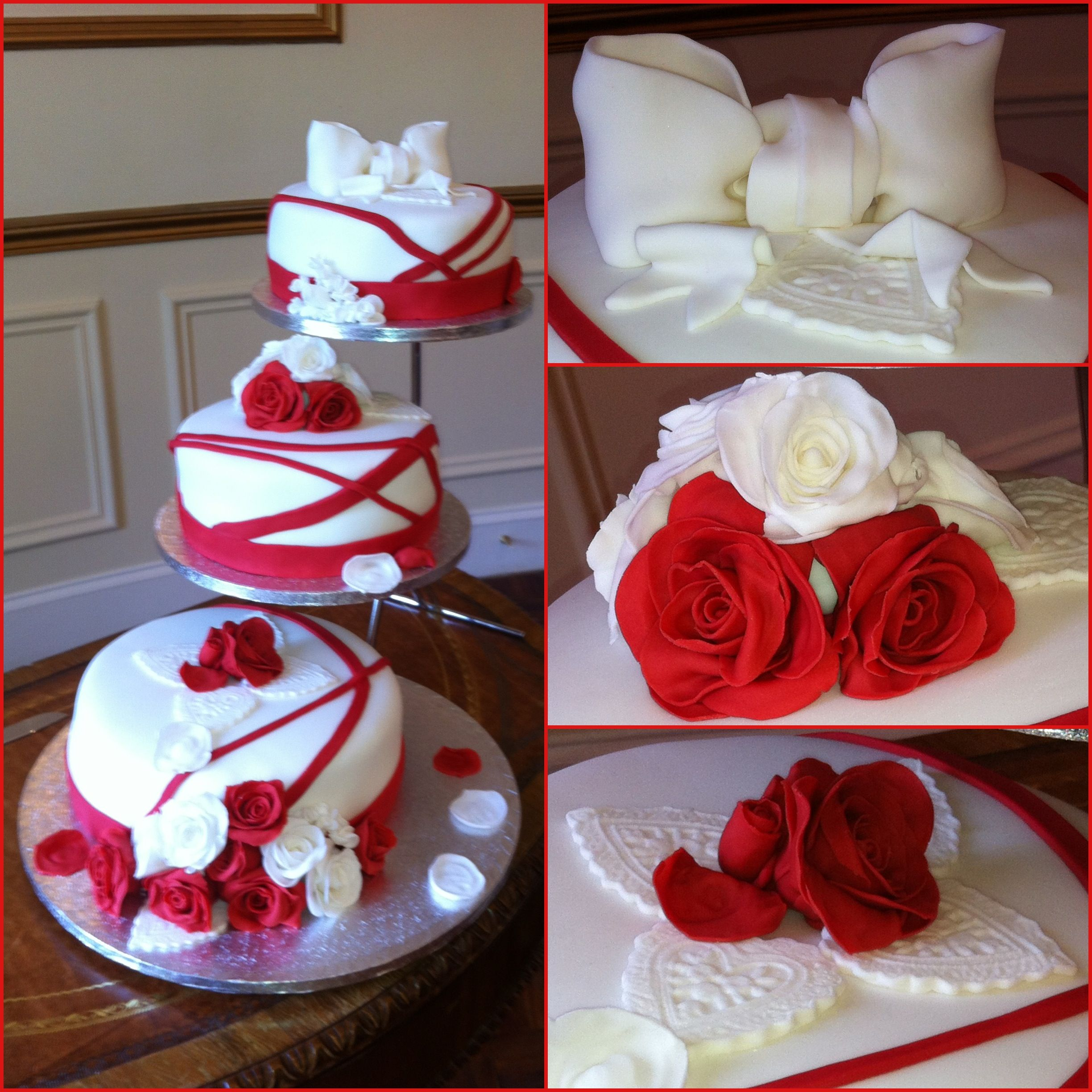 Separated Tier Ruby Wedding Anniversary Cake With Fondant