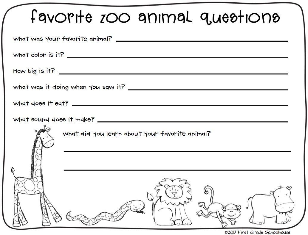Zoo Animals Writing