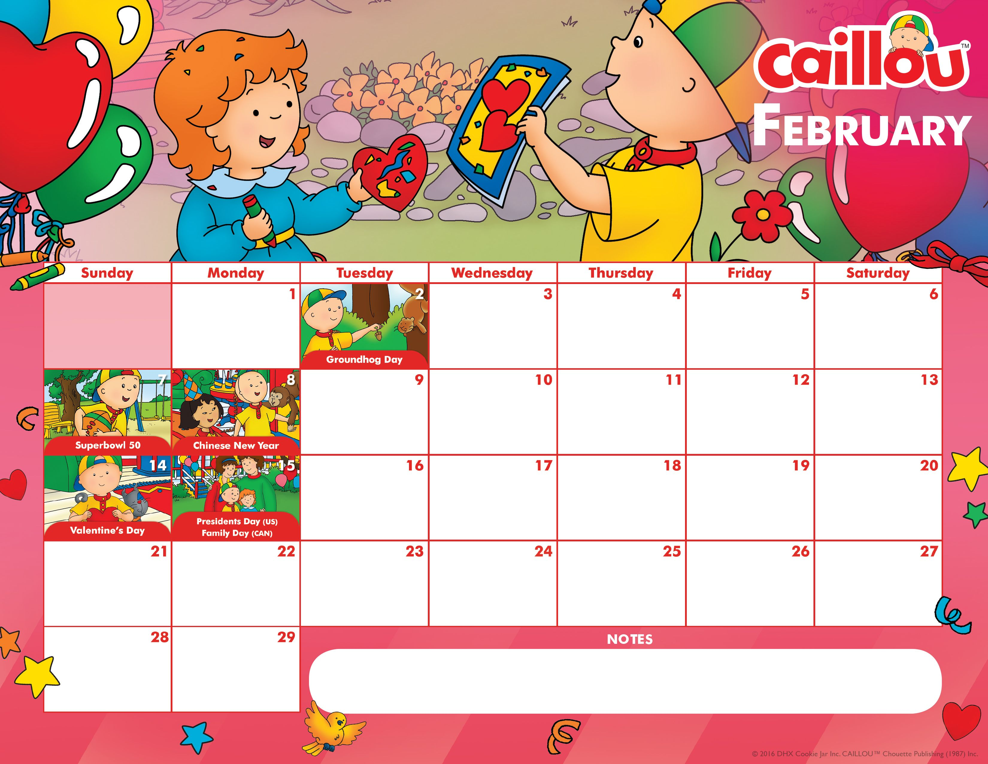 It S February Download Amp Print This Adorable Caillou Printable Calendar Countdown To