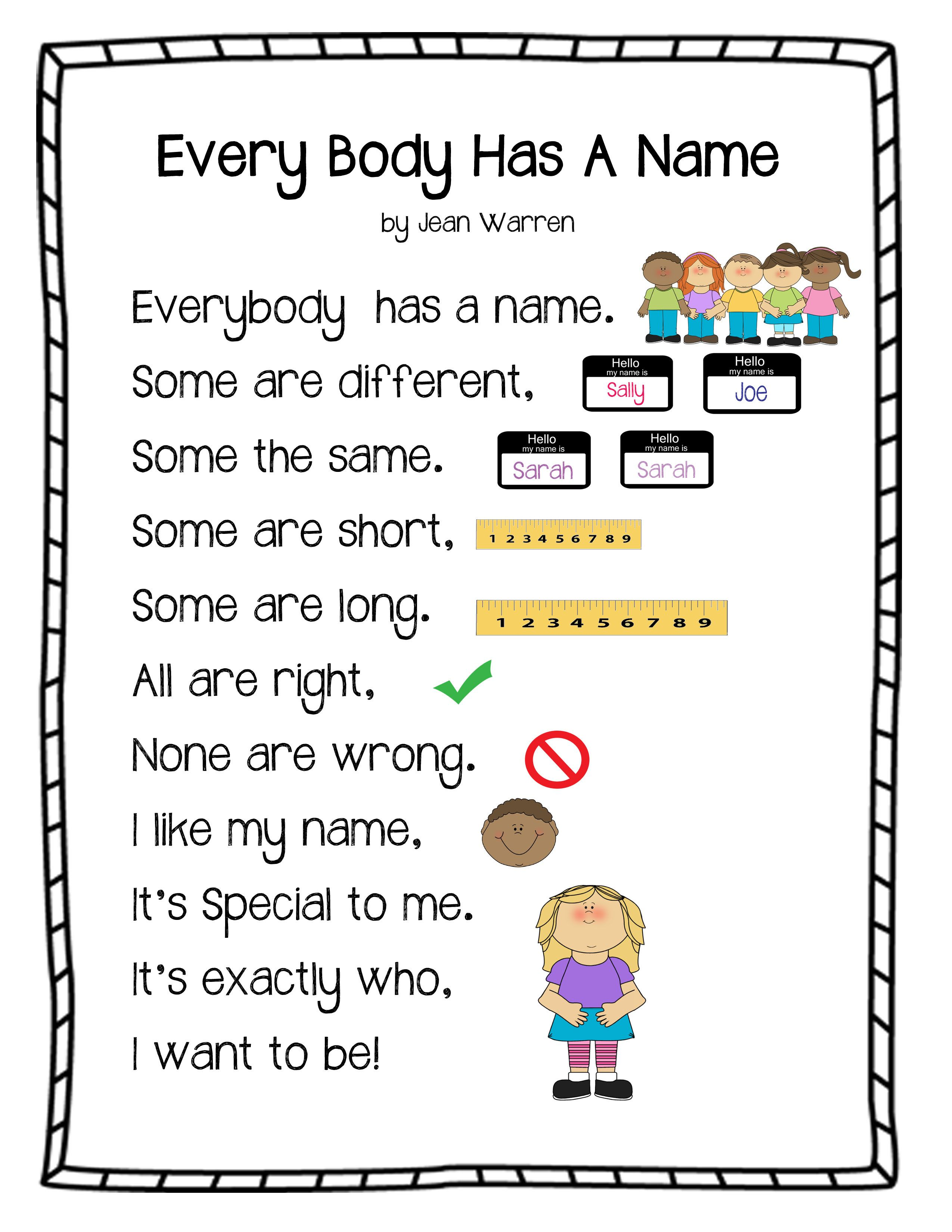 Every Body Has A Name Poem From Play Learn Love