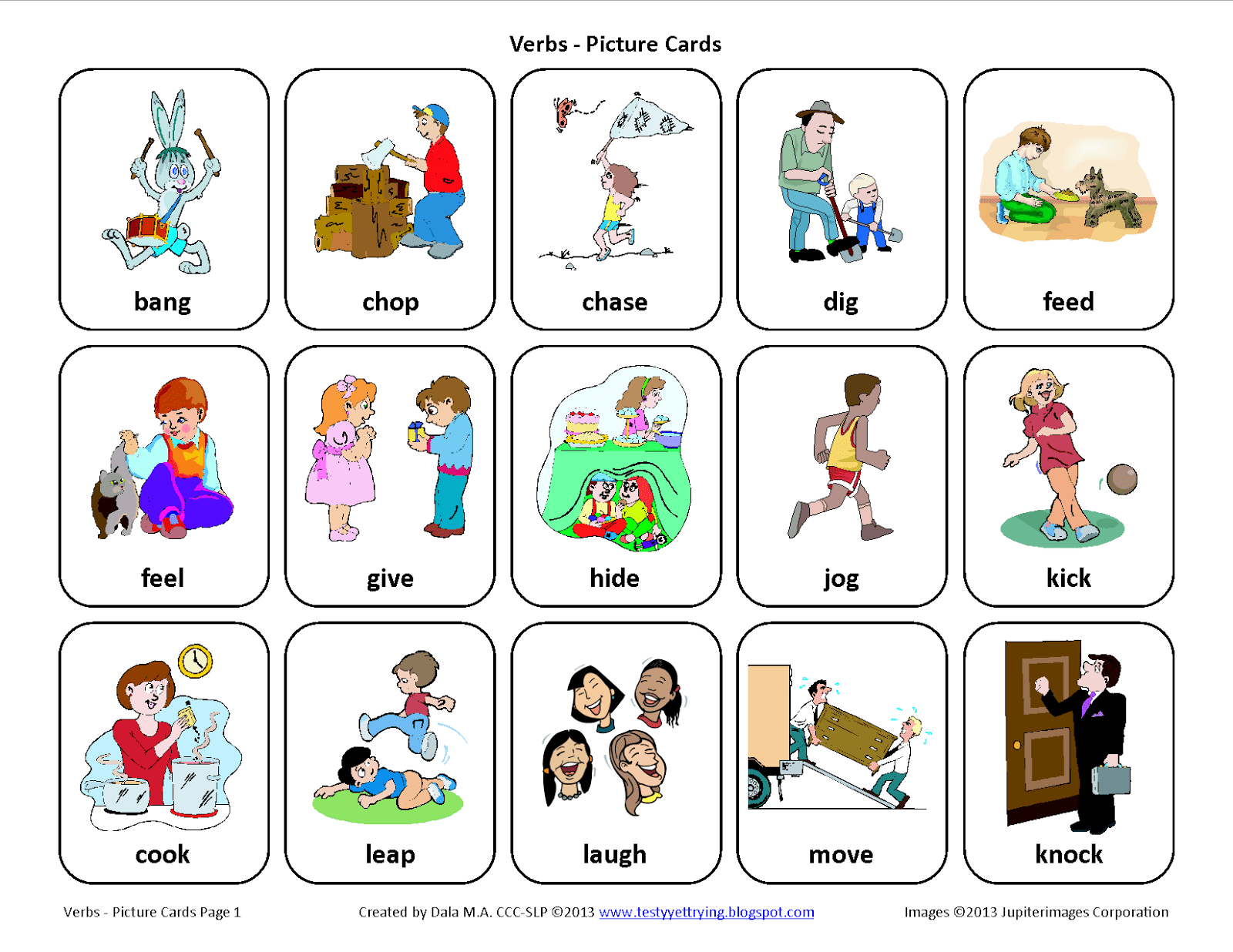 Testy Yet Trying Verbs Free Speech Therapy Picture Cards