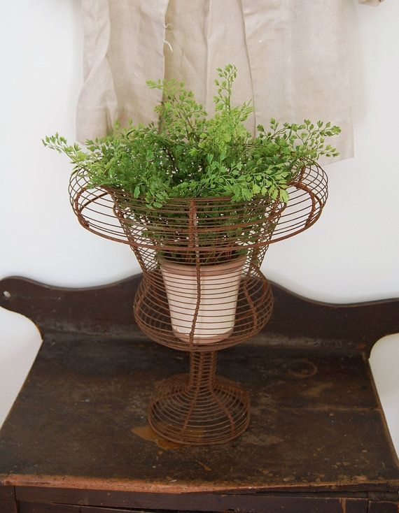 Large Vintage Wire Garden Urn Rust Finish Small Potted Plants
