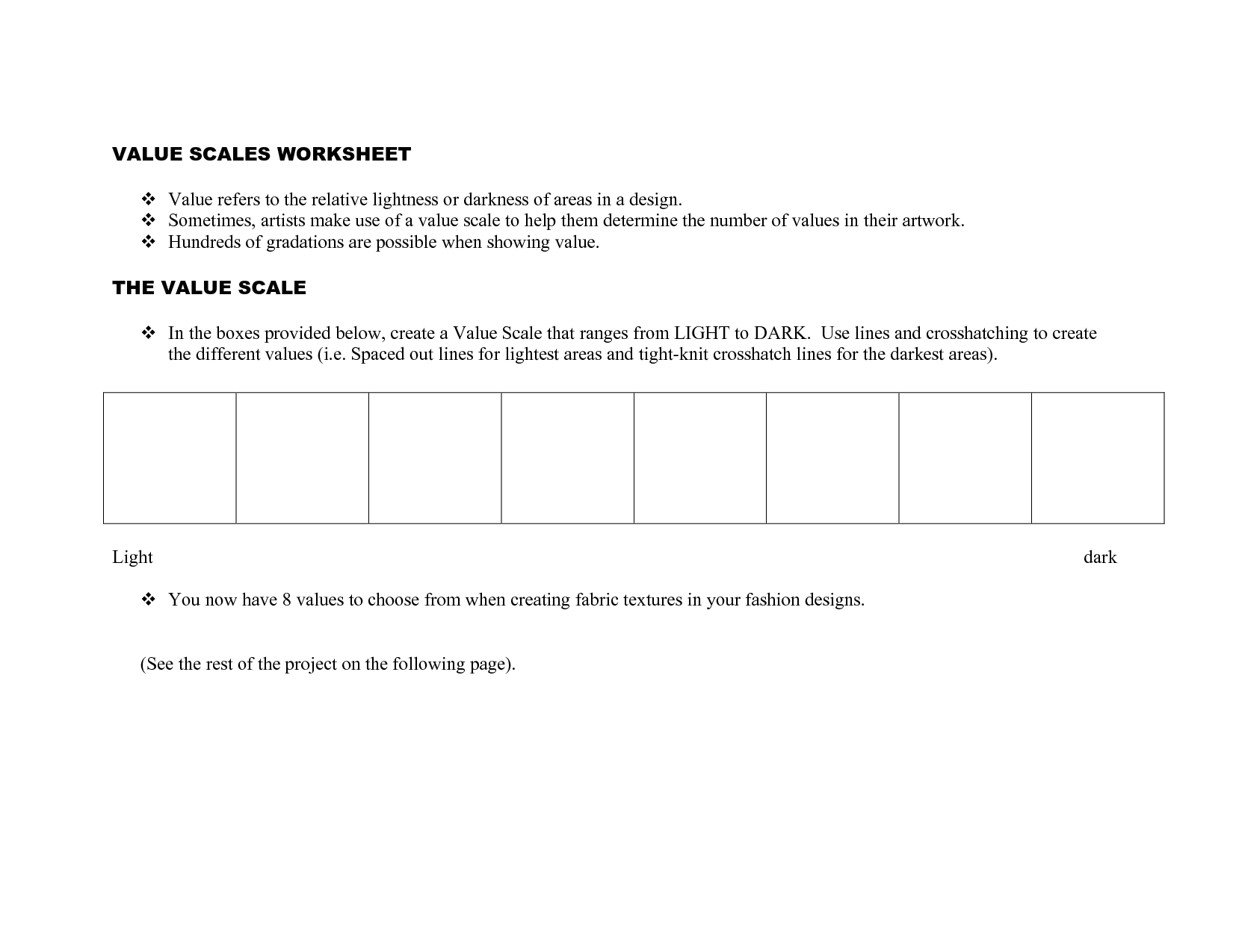 Scale Worksheet
