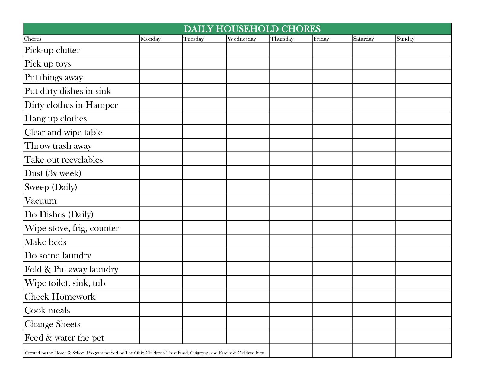Daily Chore Chart For Adults