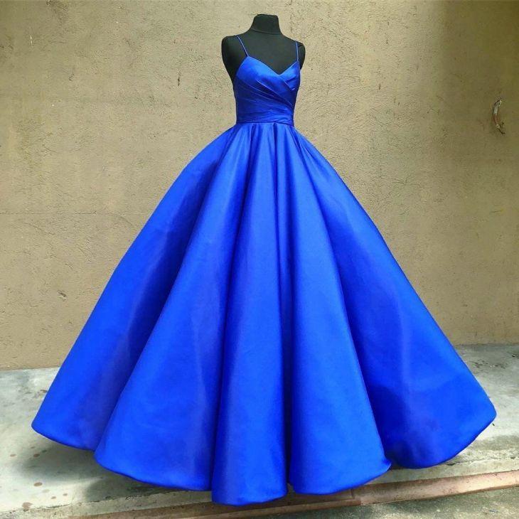 spaghetti straps v neck royal blue taffeta wedding dresses ball