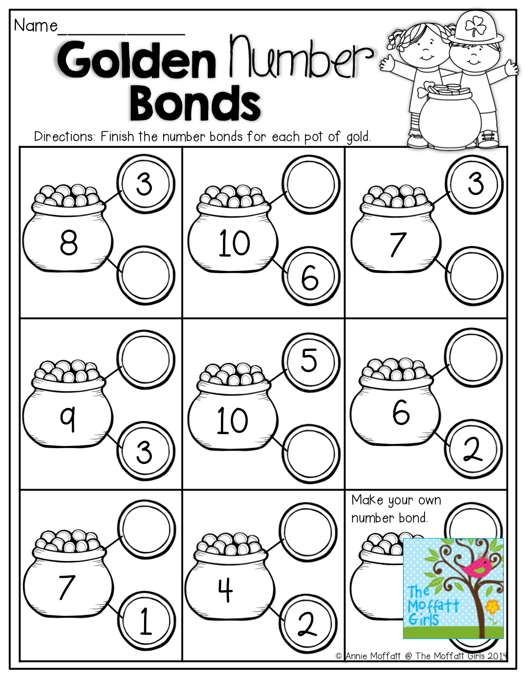 Number Bonds Fill In The Missing Part On The Coins Tons