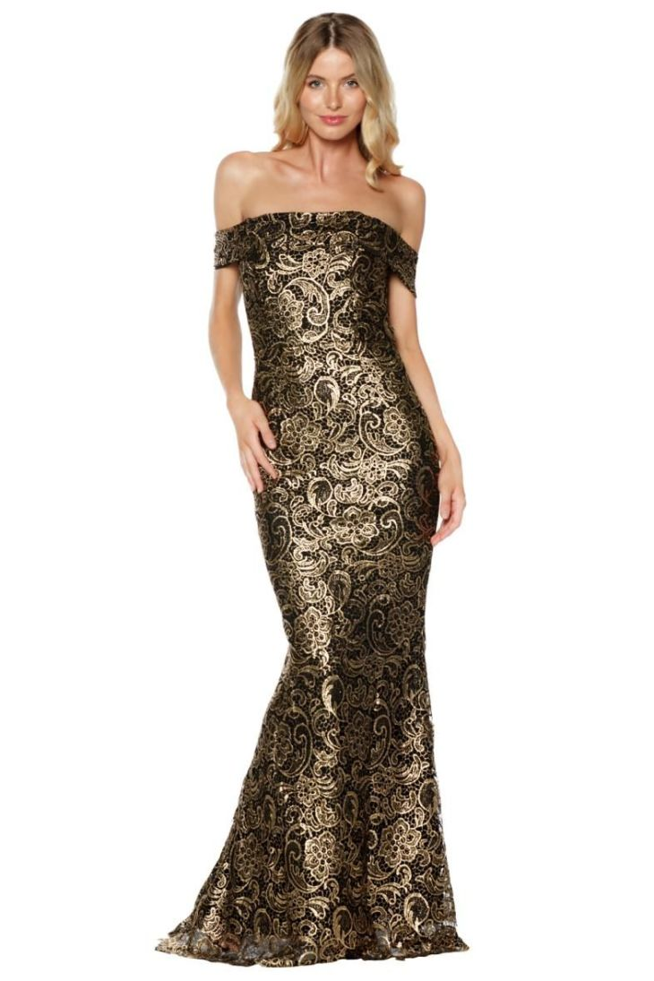 Grace and Hart Gold Rush Off The Shoulder Gown Front My Style