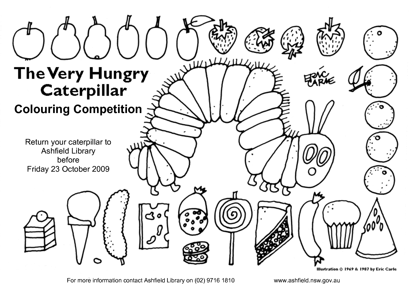 Very Hungry Caterpillar 40 Ann Colouring Competition By