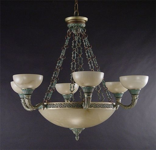 Antique Brass Verde Chandelier Alabaster Designer Ceiling Lights Marbella