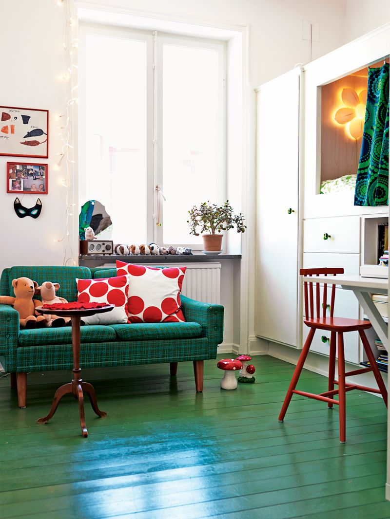 the painted green wood floors give a cheery look to this on floor and decor id=34283