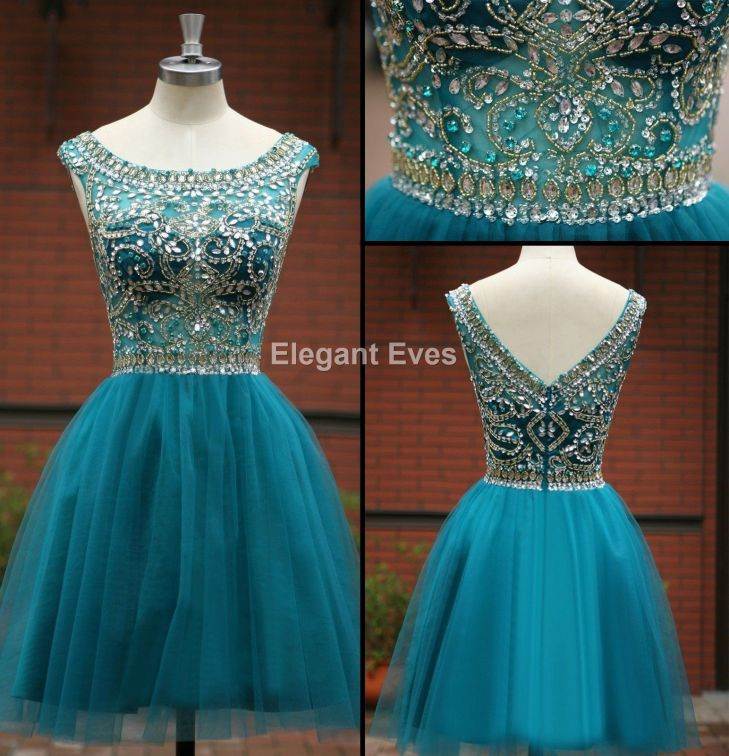 Nice Awesome Boat Neck Blue Gold Bead Formal Evening Short Prom Ball
